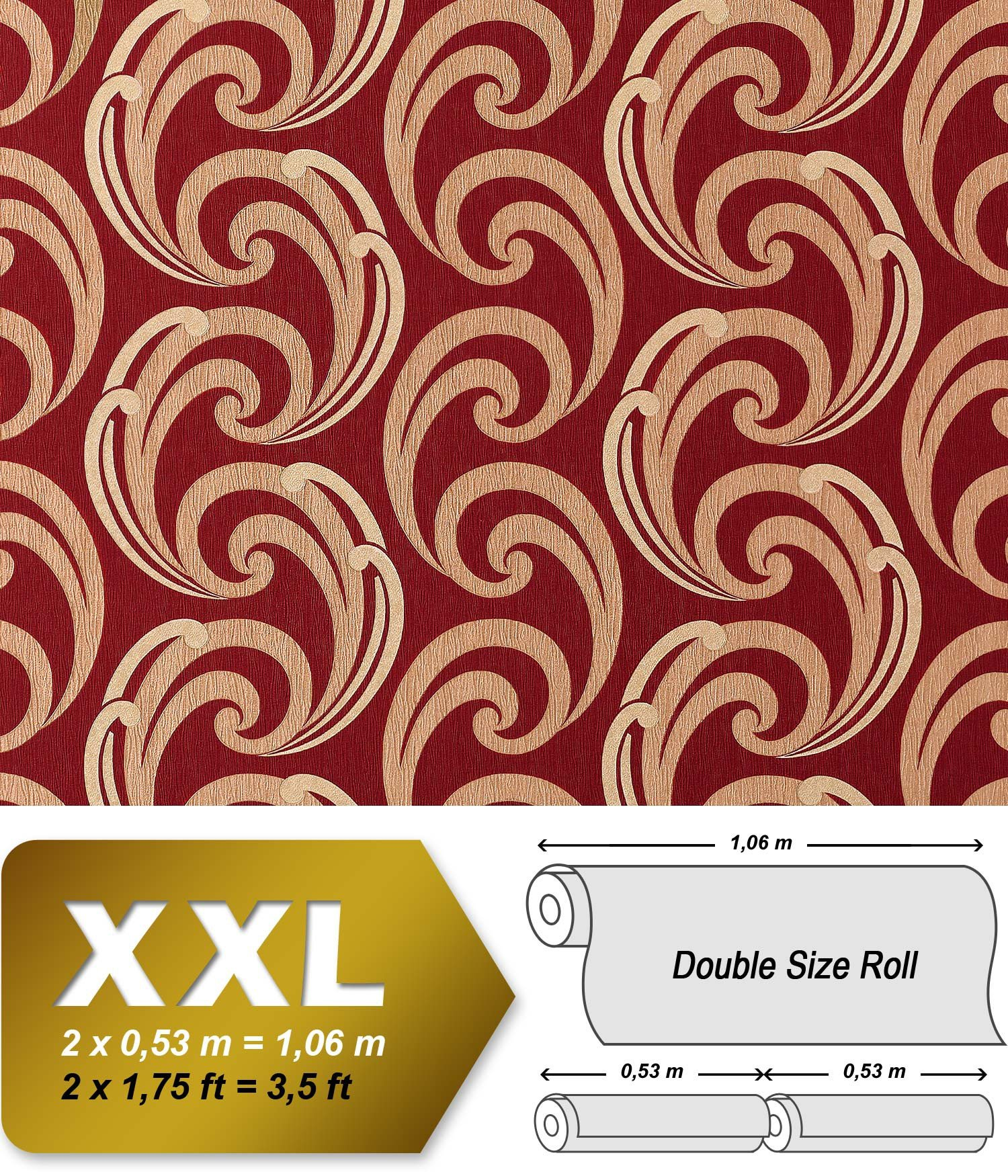 Wallpaper wall luxury textured curved lines EDEM 915-35 XXL non-woven embossed pattern red bronze gold 10,65 sqm (114 sq ft)