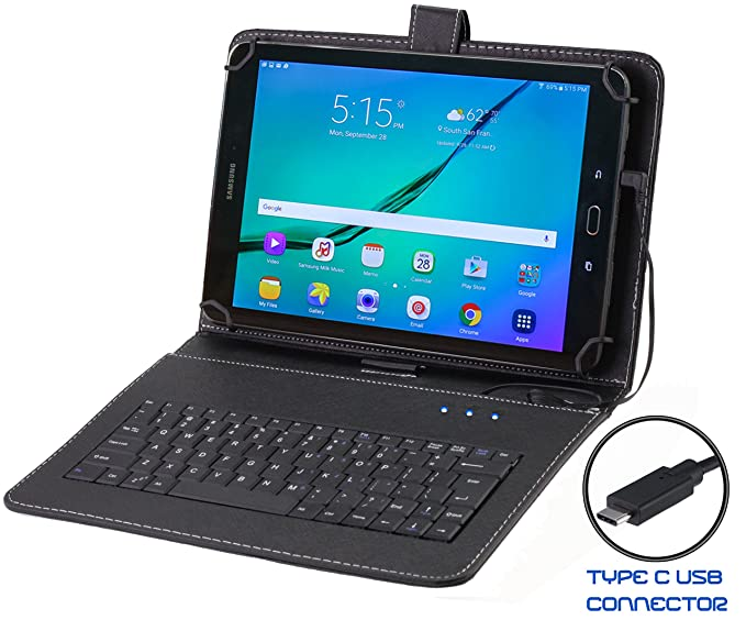 the best attitude a6e2d 7c50b Navitech Black Micro USB Type C Keyboard Case/Cover compatible with the  SAMSUNG Galaxy Tab S2 9.7