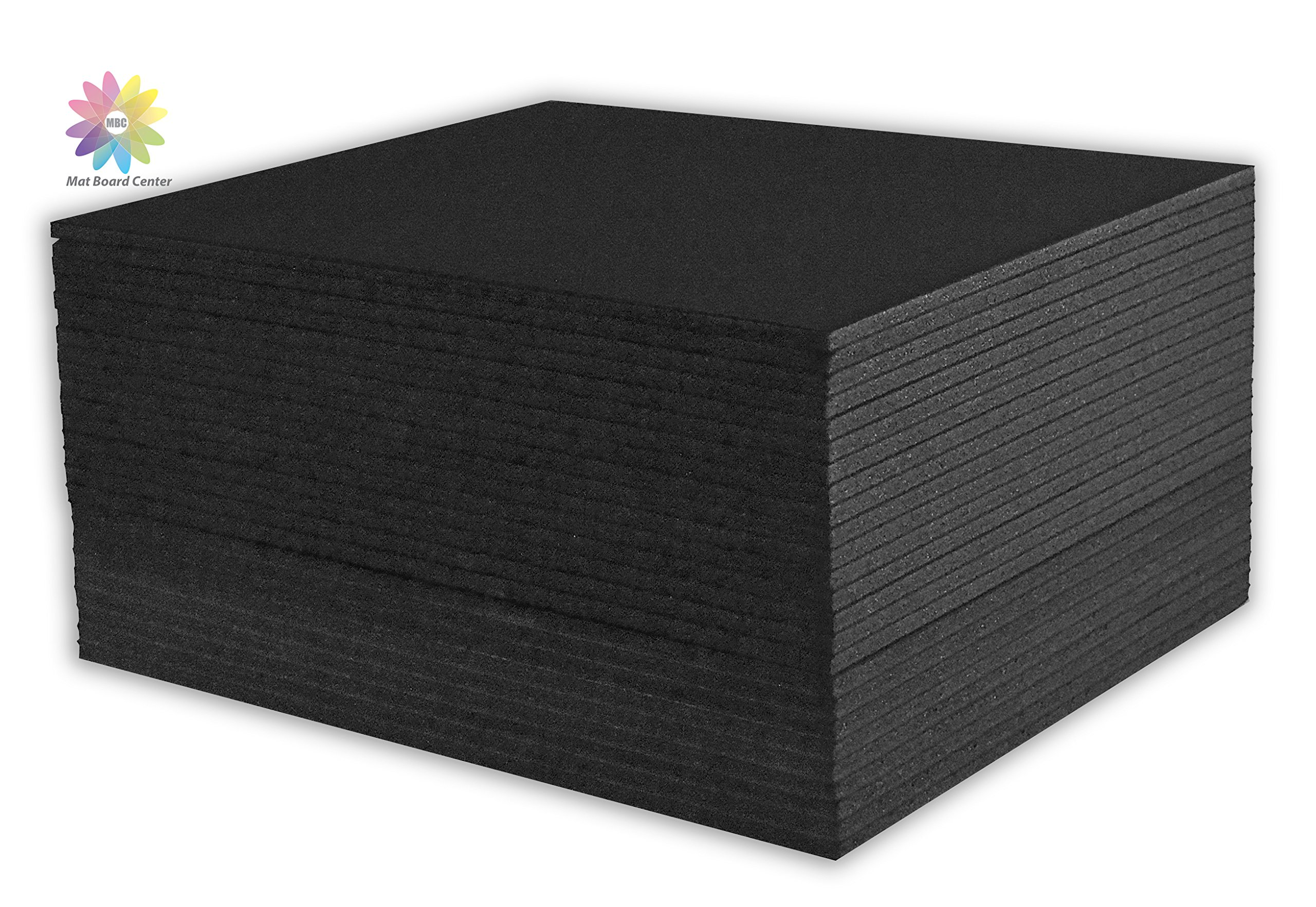 Mat Board Center, Pack of 25 8x10 3/16 BLACK Foam Core Backing Boards