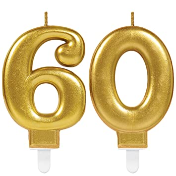 Carpeta 2x Zahlenkerzen Zahl 60 In Gold 11cm X 9cm Gross Deko