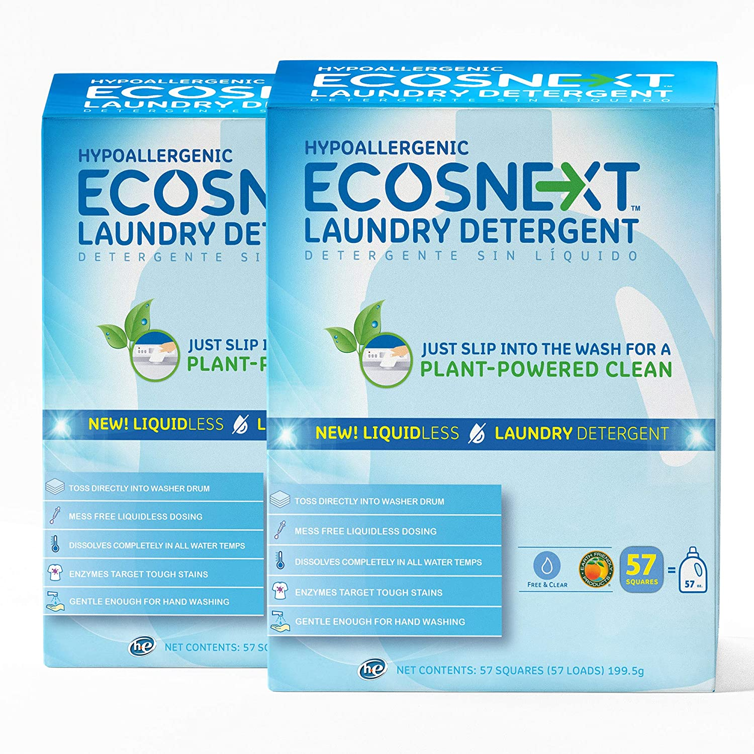 ECOSNext™ Liquidless Laundry Detergent Squares, Free & Clear, 114 loads (57 Count, 2 Pack)