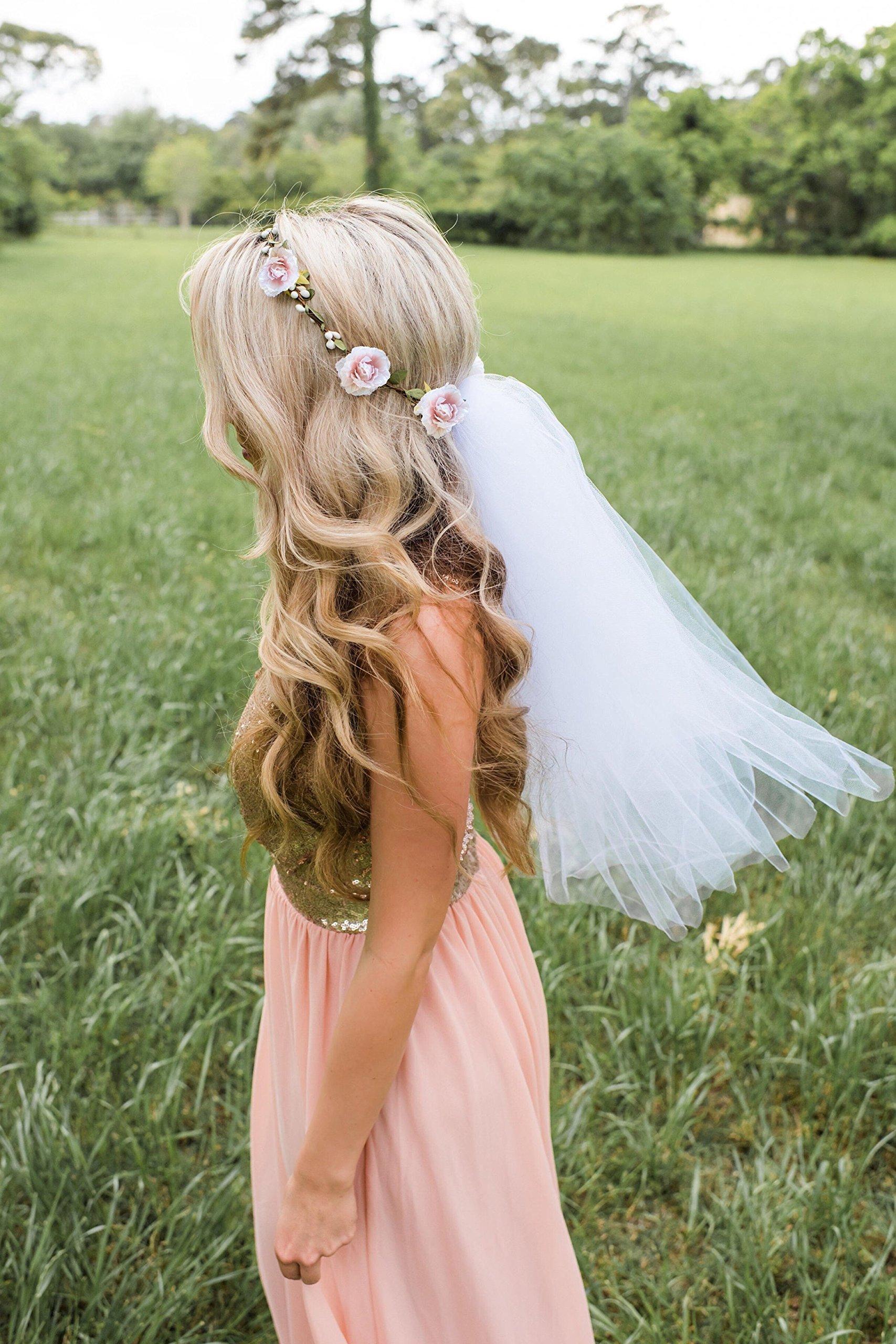 Flower Crown Veil - Bachelorette Veil - Champagne Pink Flowers (NEW)