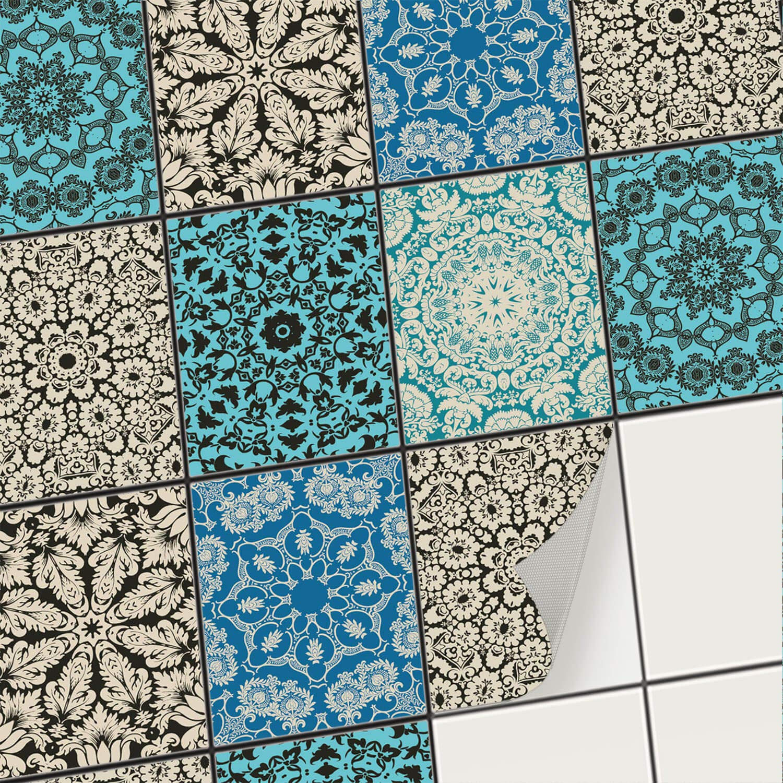 Film adhé sif dé coratif Carreau/Mosaï que carrelage Mural - Autocollants carrelage Cuisine et Salle de Bains - Stickers carrelage Autocollant Mural - 10x10 cm (9 piè ces) Design Marocain creatisto GmbH