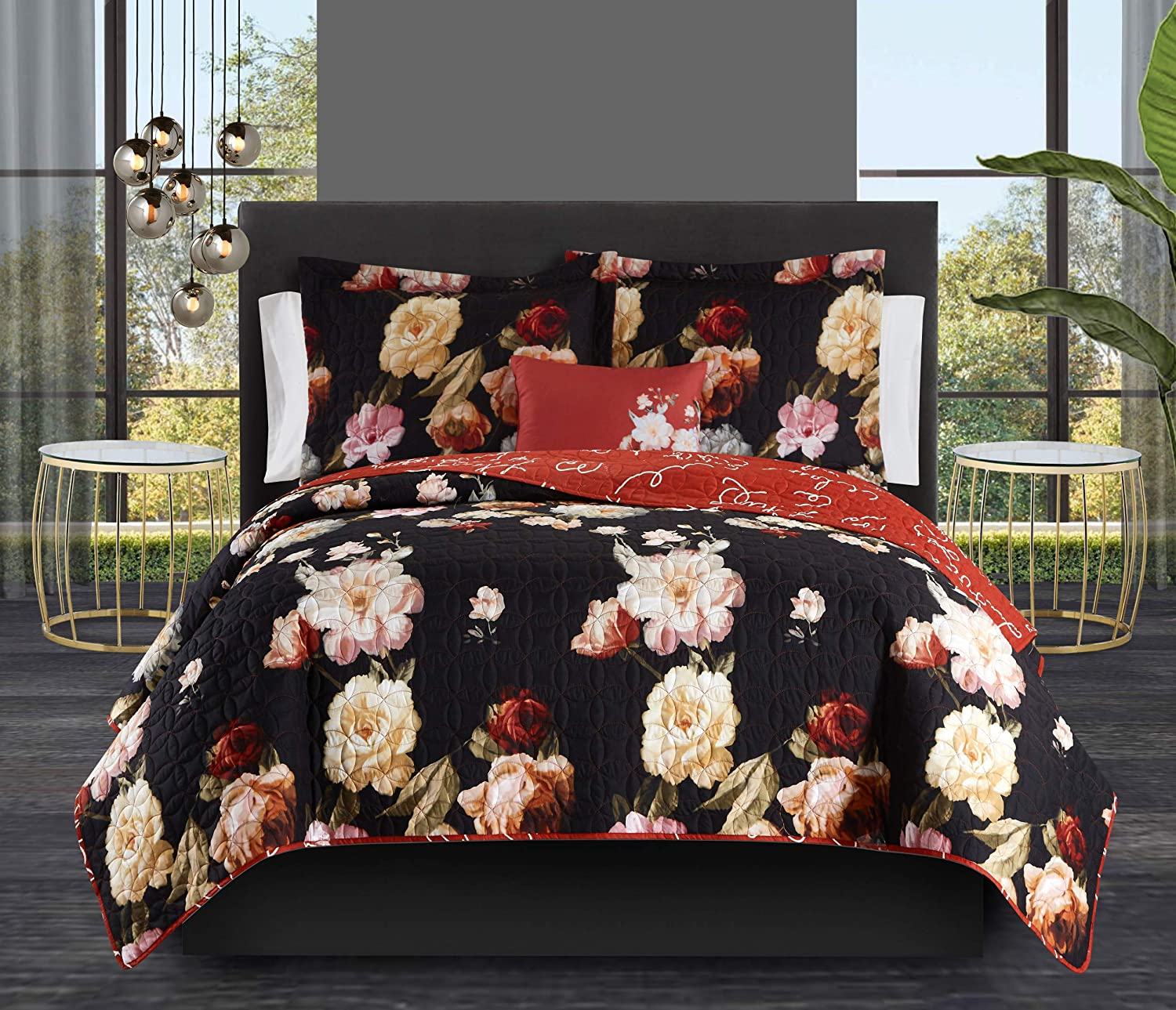 Chic Home Euphemia 4 Piece Reversible Ranking TOP12 Print Cur Floral Quilt Ranking TOP3 Set