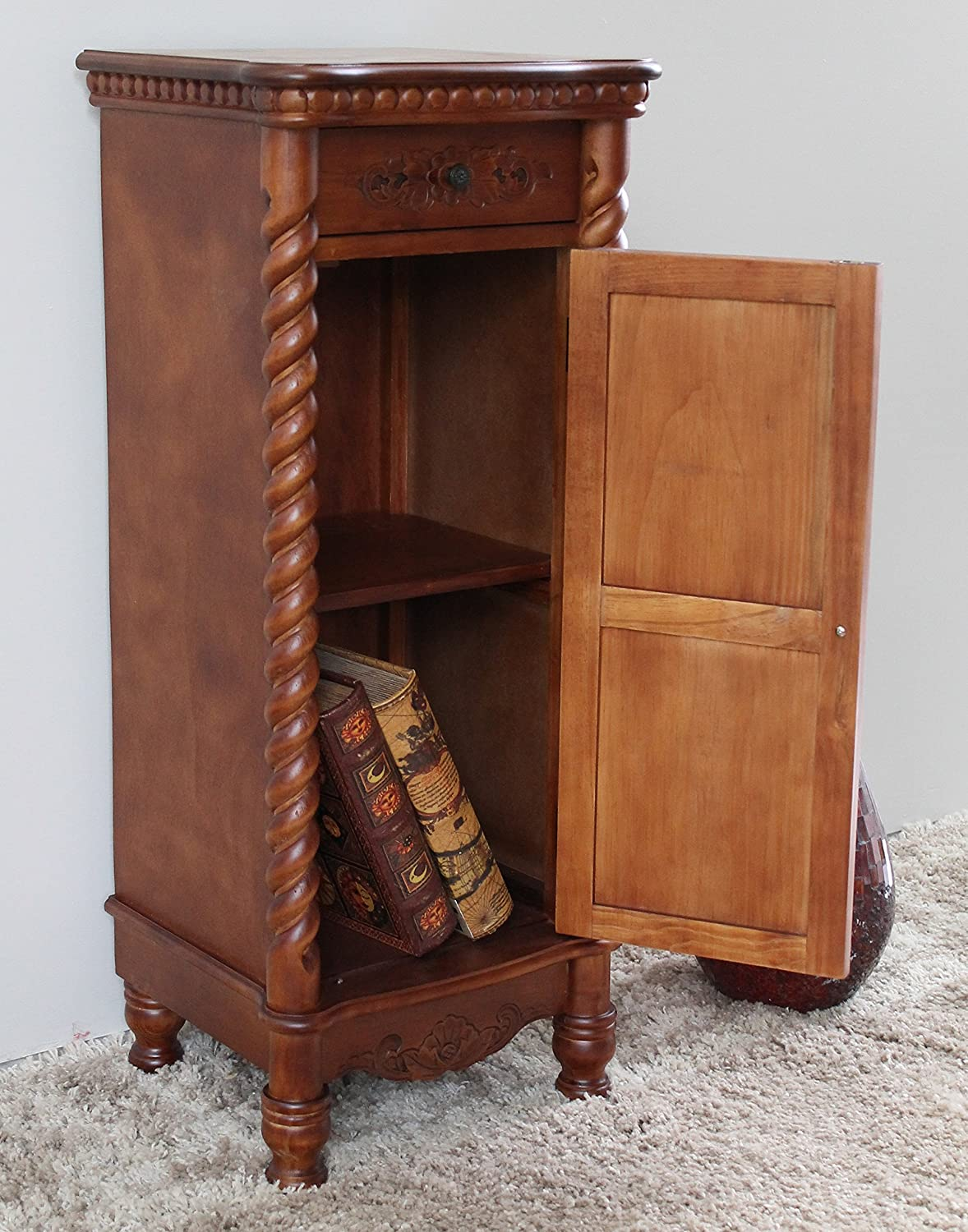 Merveilleux Amazon.com: International Caravan Hand Carved Indoor 2 Drawer Tall Wood  Cabinet: Kitchen U0026 Dining