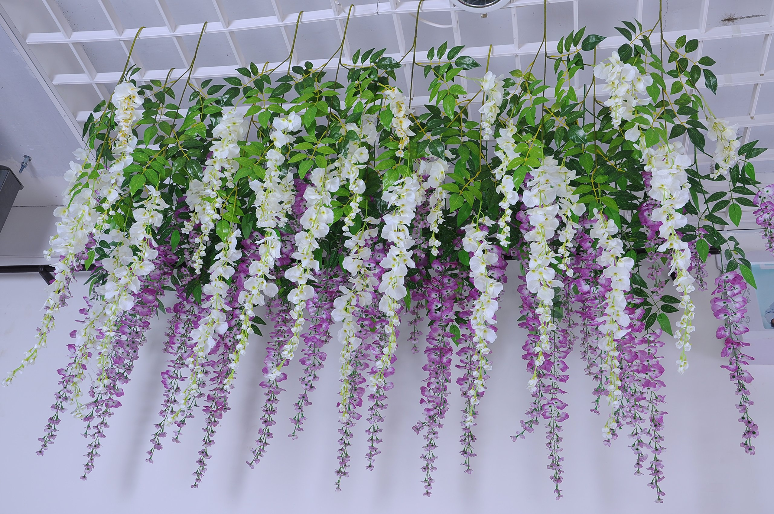 Coobl 36 ft realistic artificial fake wisteria vine ratta silk coobl 36 ft realistic artificial fake wisteria vine ratta silk flowers for garden floral decoration diy living room hanging plant vine home party wedding mightylinksfo
