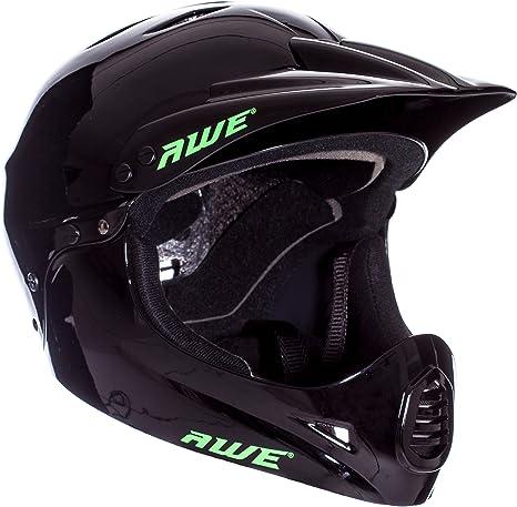 AWE - Casco integral para BMX, tamaño medio, 54-58 cm, color negro: Amazon.es: Deportes y aire libre