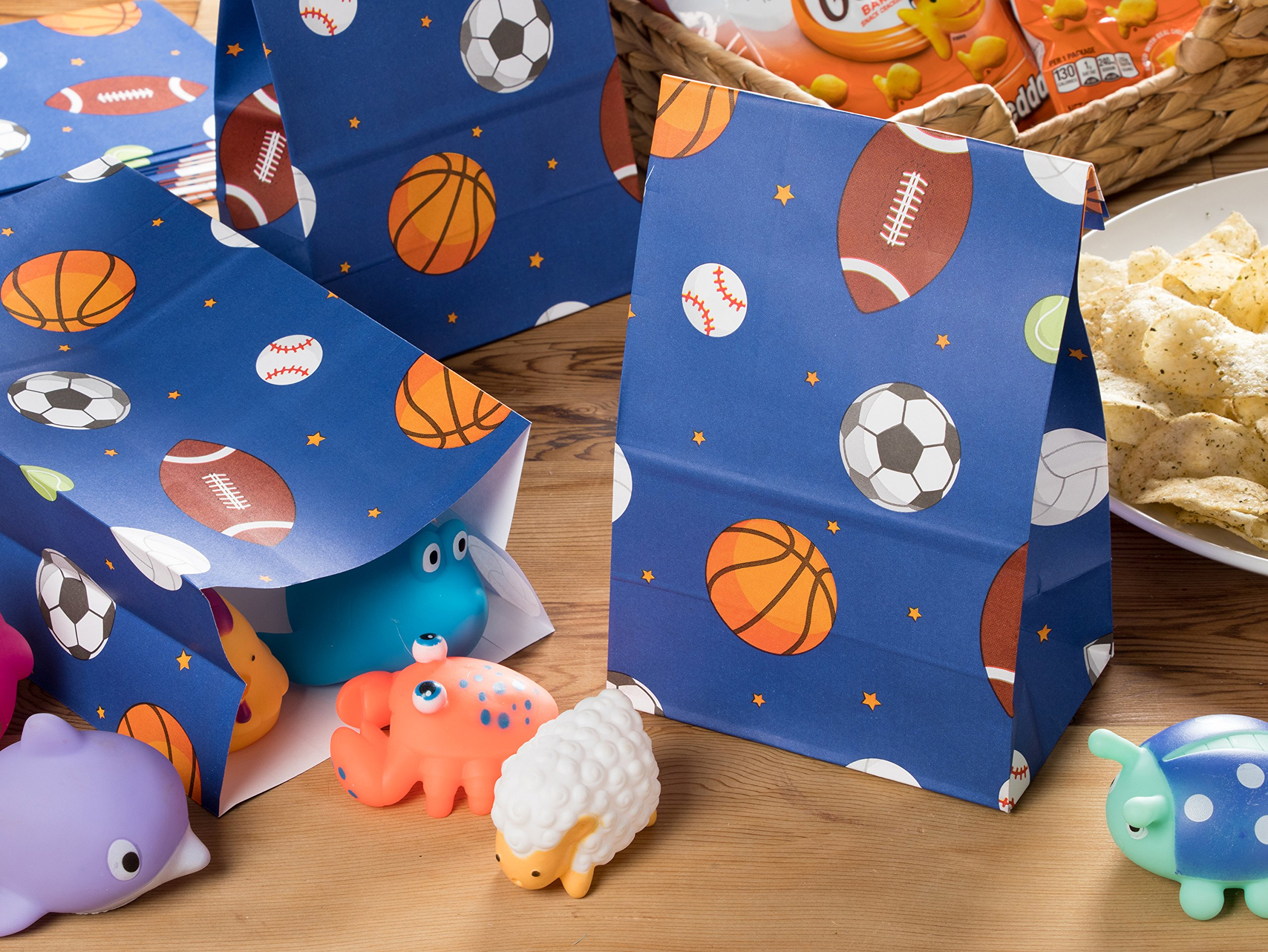 Party Treat Bags - 36-Pack Gift Bags, Sports Party Supplies, Paper Favor Bags, Recyclable Goodie Bags for Kids, Sports Themed Design, 5.2 x 8.7 x 3.3 Inches by Blue Panda (Image #2)
