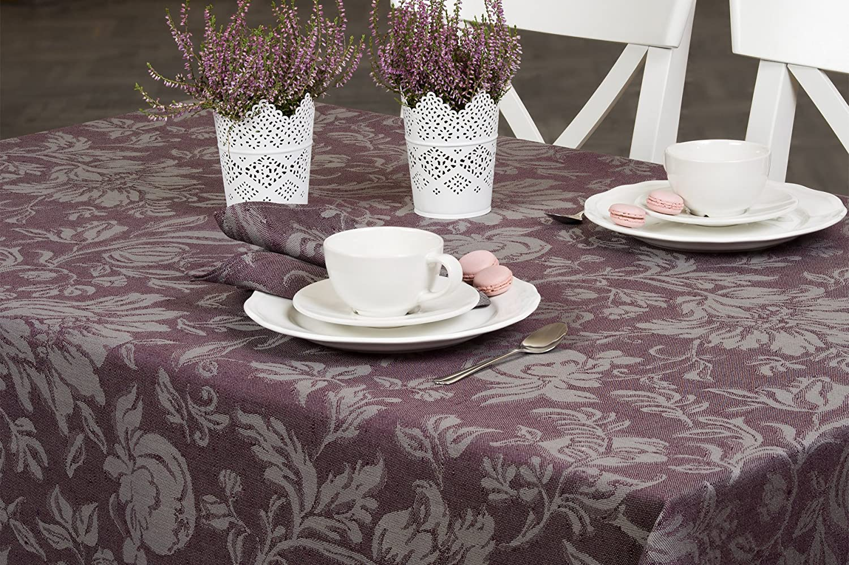 Leinentischdecke, violett, Jacquard, 150cm x 400cm