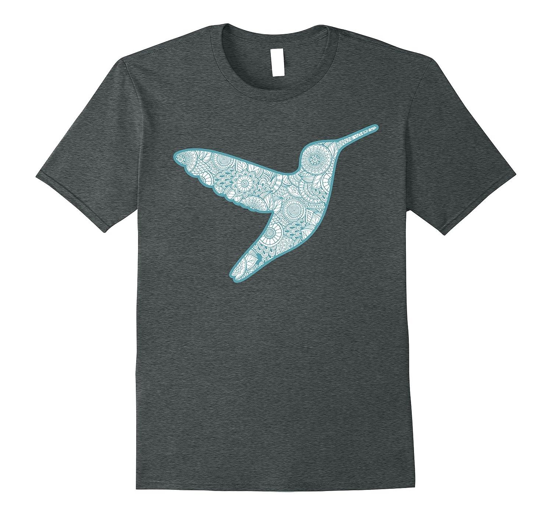 Hummingbird Silhouette T-Shirt With Paisley Pattern-Art