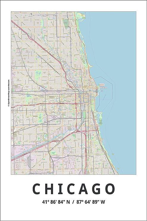 Amazon.de: Spitzy\'s Poster Map of Chicago Illinois, 30, 5 x ...