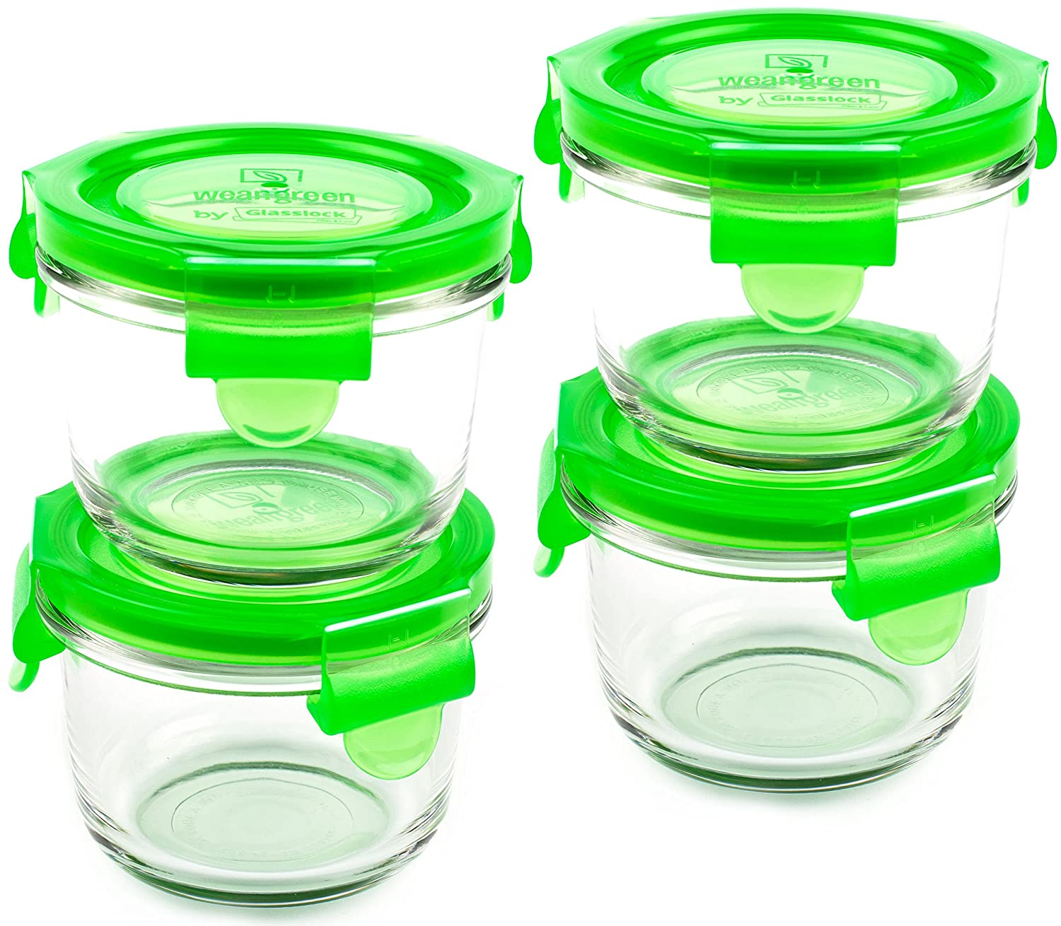Wean Green Pea Bowls Reusable Glass Food Storage Container Set