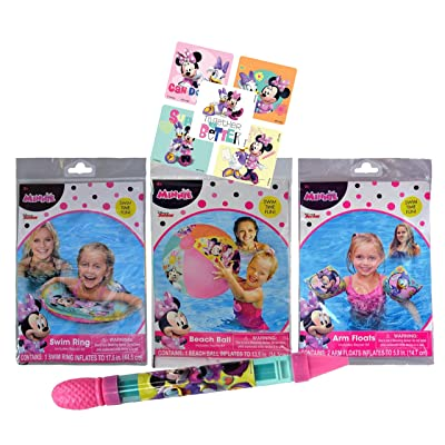 UPD Licensed Swim Sets! Pool Toys Bundle! Swim Ring, Arm Floats, Beach Ball and Water Blaster in All Your Favorite Characters! (4 Piece, Minnie Mouse): Toys & Games