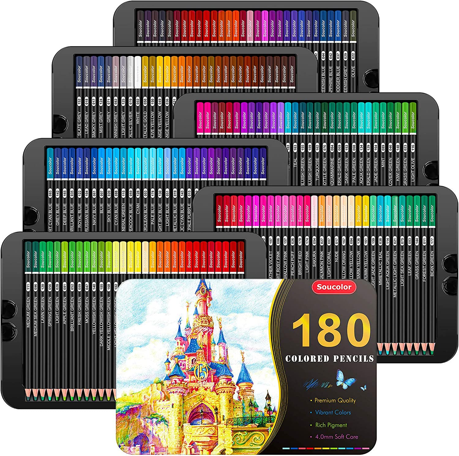 Soucolor 180-Color Artist Colored Pencils Set for Adult Coloring Books, Soft Core, Professional Numbered Art Drawing Pencils for Sketching Shading Blending Crafting, Gift Tin Box for Beginners Kids