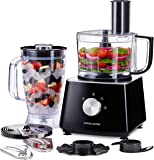 Andrew James Food Processor & Blender with Jug & Bowl Plus a Range of Accessories   Safety Lid Locking System   Great For Baby Food Smoothies Soups & Salads Etc