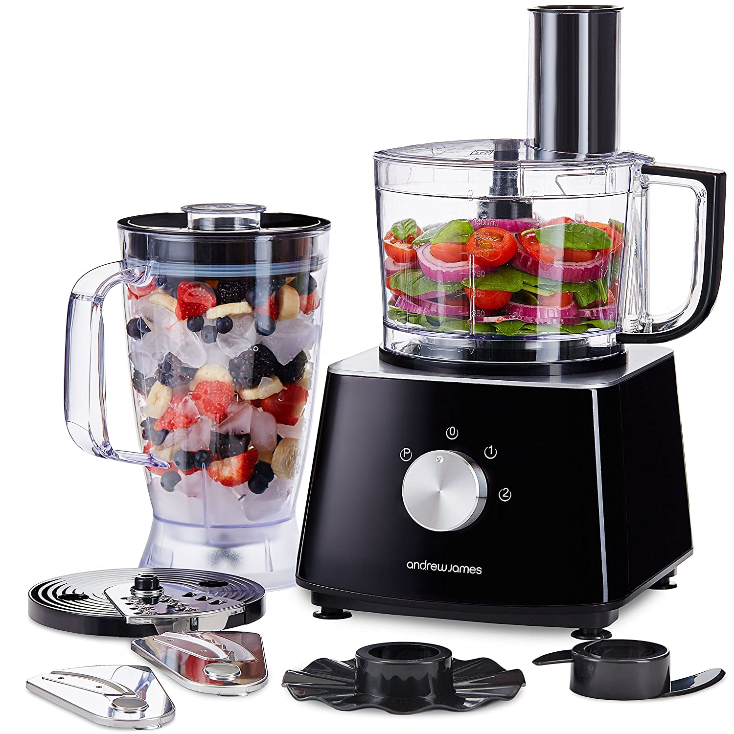 Best Food Processor 2020.Andrew James Food Processor With Blender Jug 6 Chopping Blades Including Grater Kneader Large 1 8l Capacity Electric Chopper For Cooking
