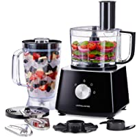 Andrew James Food Processor with Blender - 700W Black 2L Processor Bowl 1.8L Blender Jug 2 Speed Setting Lid Locking - 6 Attachments for Versatile Food Processing