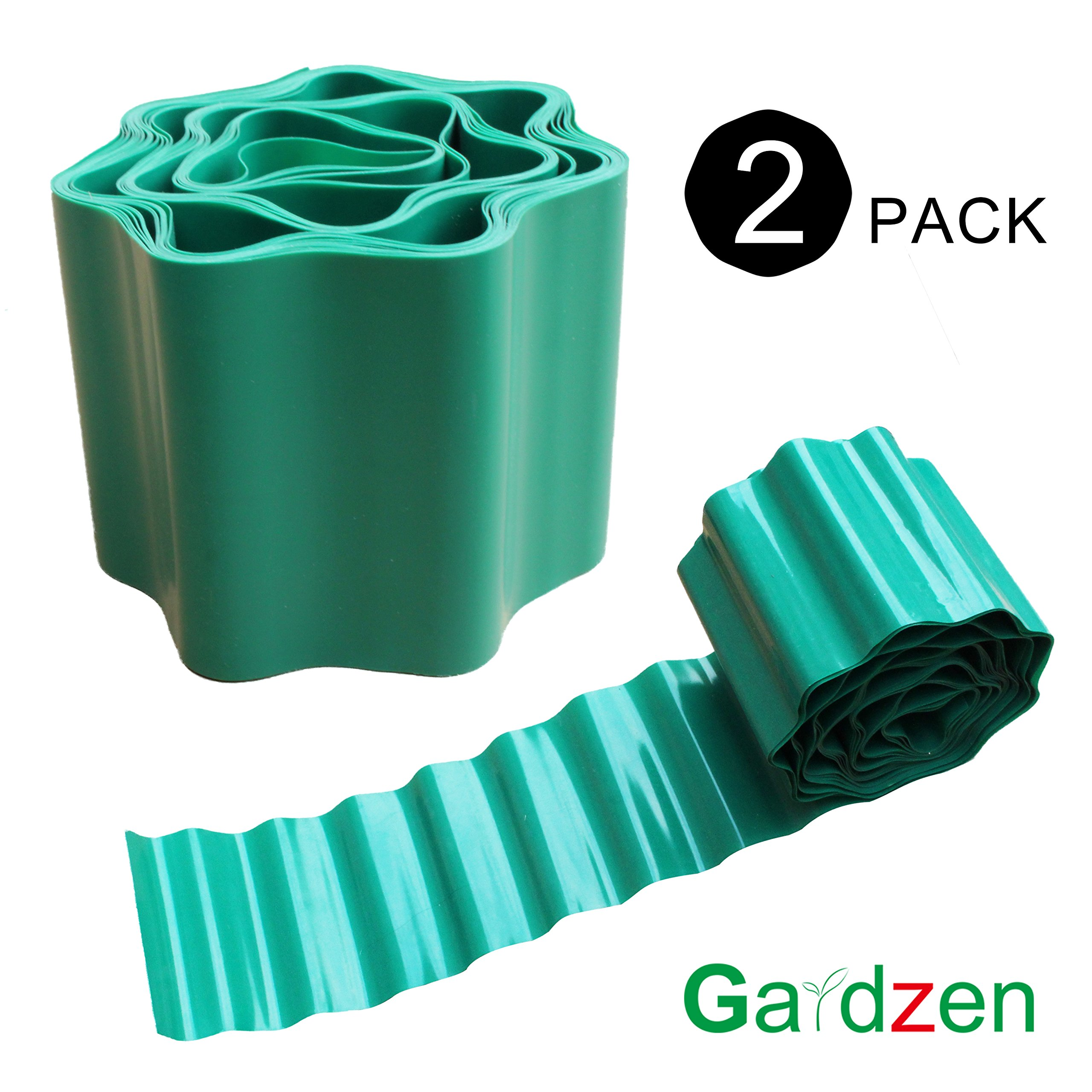 Gardzen 2-Pack 15cmx12m Gardening Green Flexible Plastic PVC Garden Lawn Edging, Border Edging for Lawns, Flower Beds. Protect Your Lawn from Erosion with This Strong and Durable Plastic Lawn Edging
