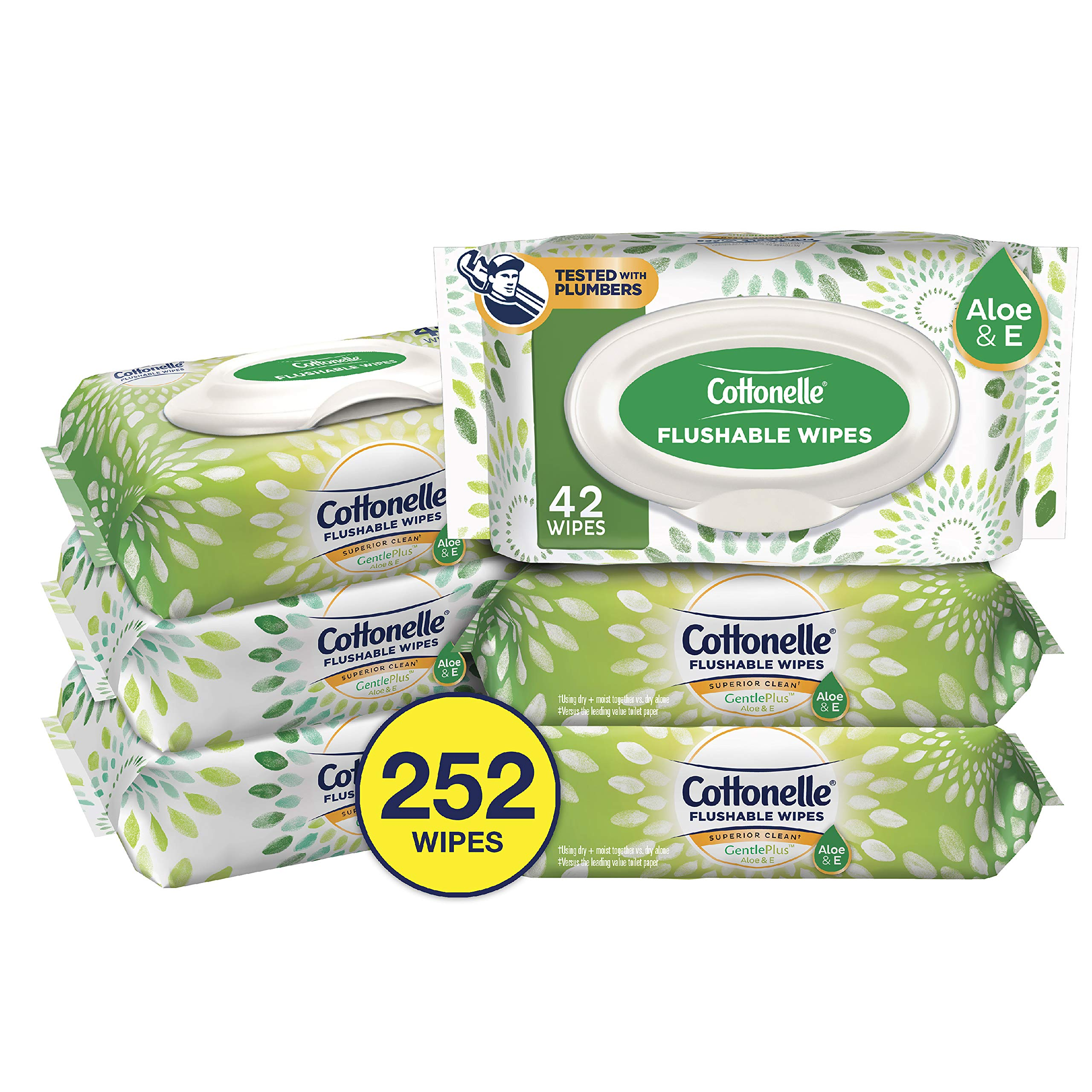 Cottonelle GentlePlus Flushable Wet Wipes with Aloe & Vitamin E, 252 Wipes per Pack by Cottonelle