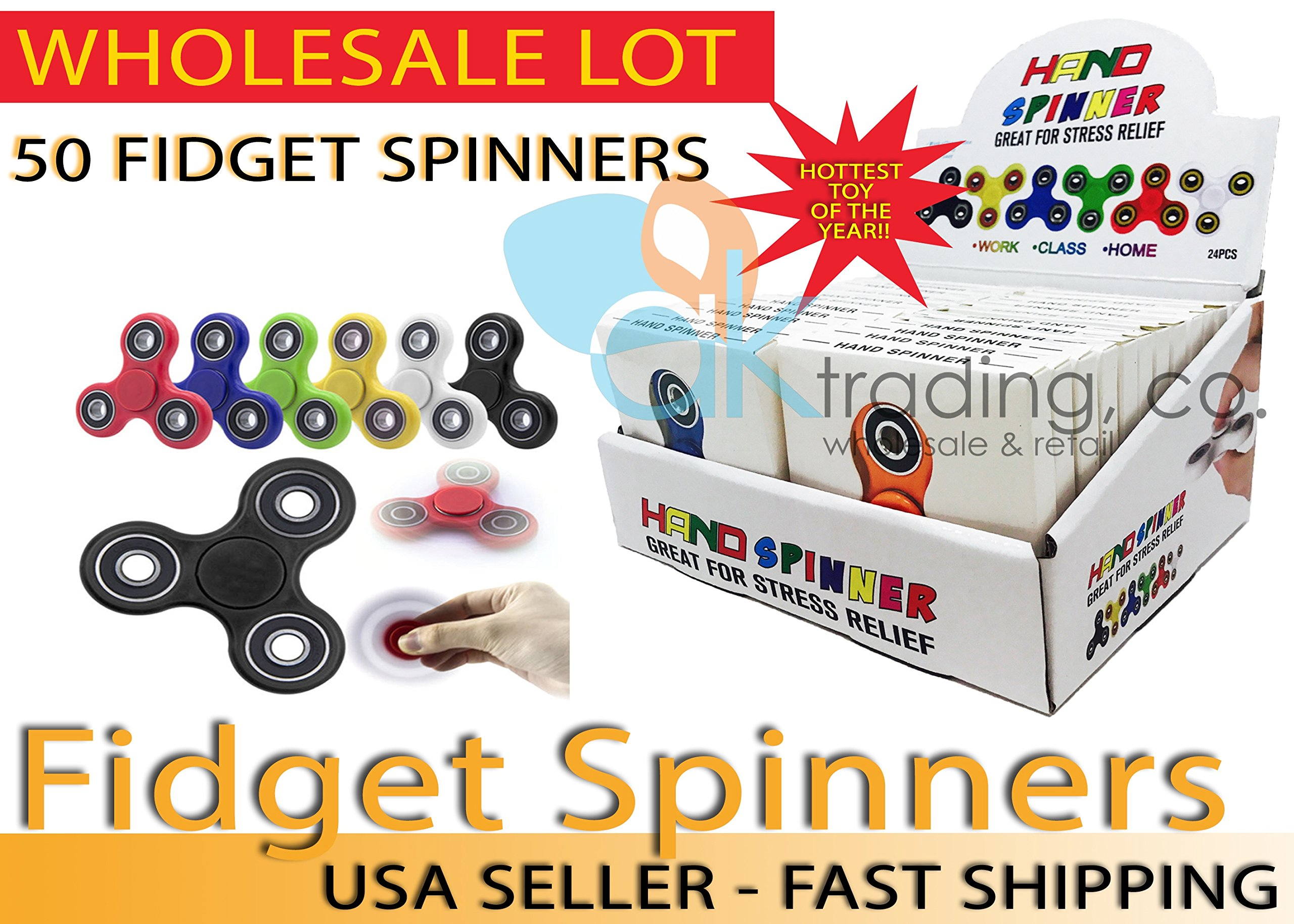 AK TRADING - LOT of 50 - Tri Spinner Fidget Gadget Hand EDC Triangle Toy Wholesale Assorted Colors (Bulk LOT of 50)- Ships Fast & Free from USA! by AK TRADING (Image #1)