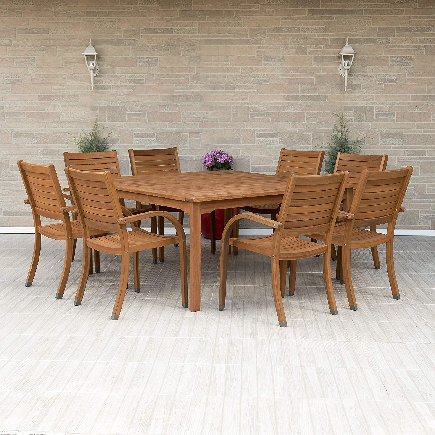 Superbe Amazon.com: Amazonia Arizona 9 Piece Square Outdoor Dining Set |Super  Quality Eucalyptus Wood| Durable And Ideal For Patio And Backyard, Light  Brown: Garden ...