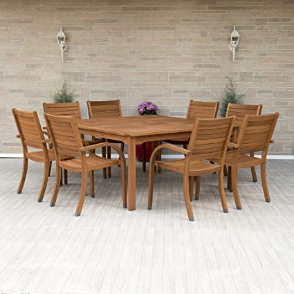 Wondrous Amazonia Arizona 9 Piece Square Outdoor Dining Set Super Quality Eucalyptus Wood Durable And Ideal For Patio And Backyard Light Brown Theyellowbook Wood Chair Design Ideas Theyellowbookinfo