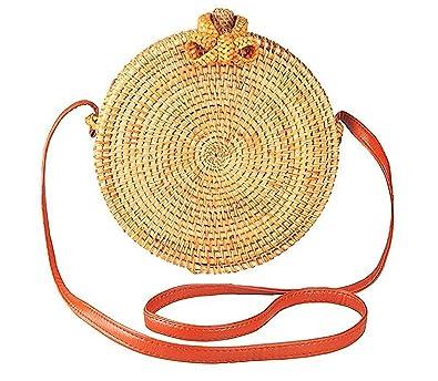 0bc38d1526cb Handwoven Round Rattan Bag for women