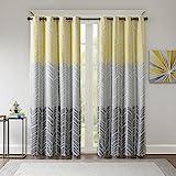 Intelligent Design Adel Blackout Bedroom, Casual Window Livingroom, Family, Geometric Grommet Room Darkening Black Out Curtain 1-Panel Pack, 50x84, Yellow