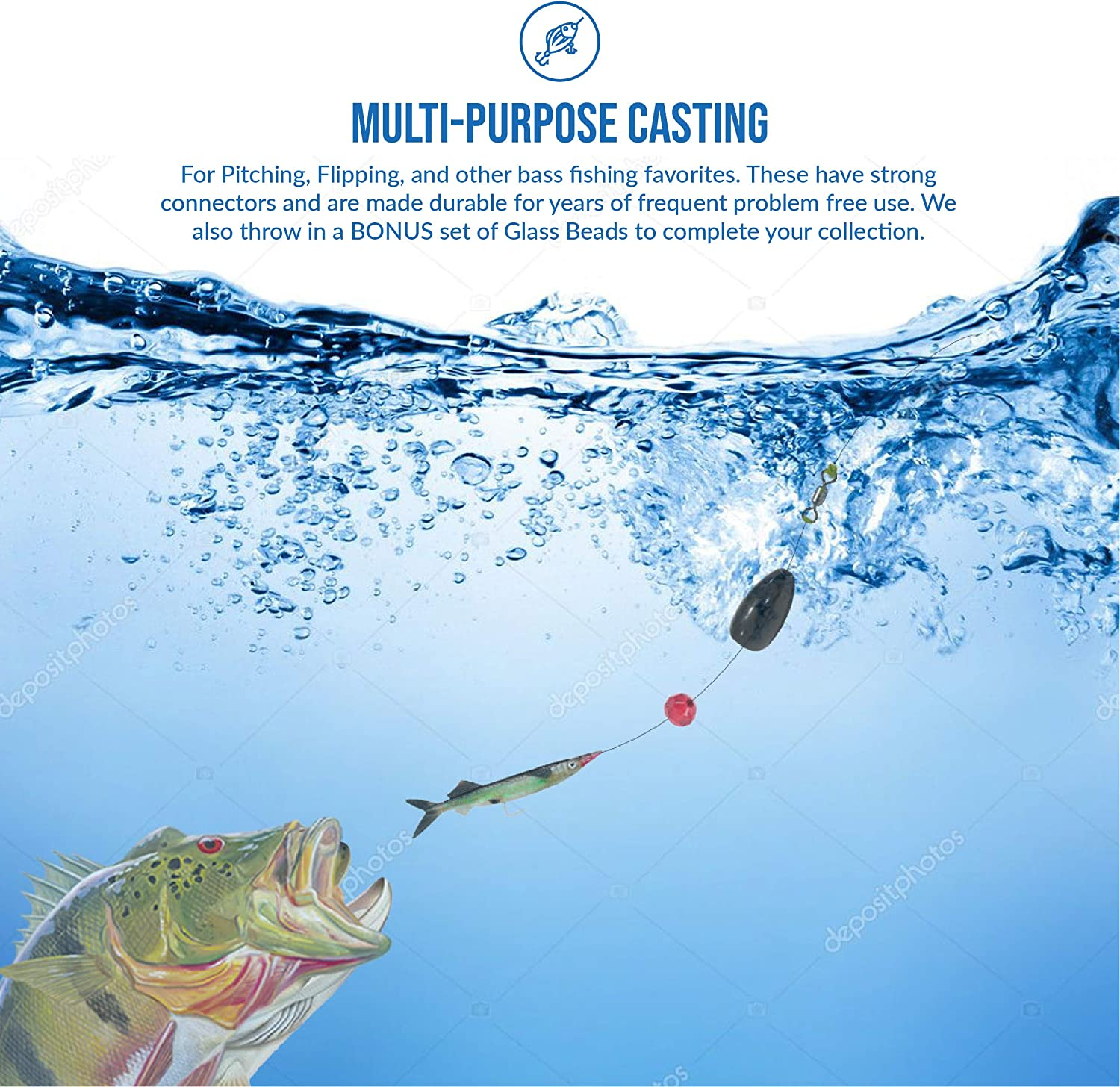 6 Bonus Glass Beads to Attract More Fishes Quick Click Solutions Premium 6 Pack Tungsten Bass Fishing Pitching Flipping Bullet Weights Multiple Sizes and Colors.