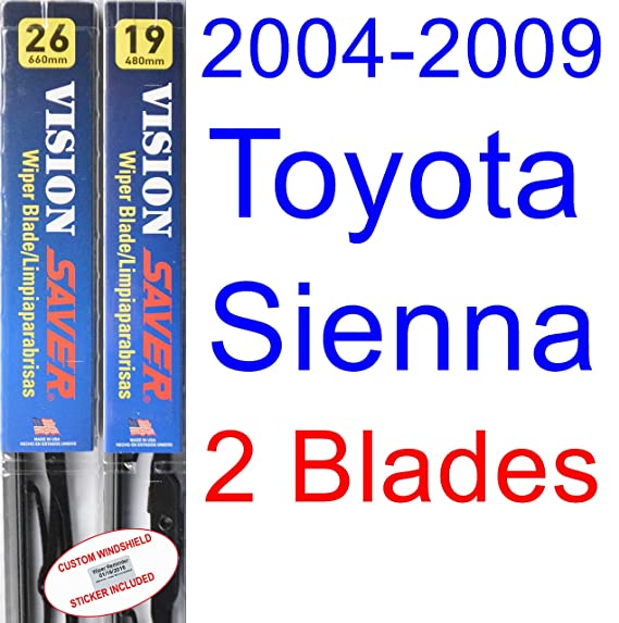 2004-2009 Toyota Sienna Replacement Wiper Blade Set/Kit (Set of 2 Blades) (Saver Automotive Products-Vision Saver) (2005,2006,2007,2008)