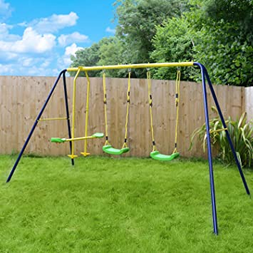Garden Swing Set Childrenu0027s Outdoor Playset 2 Swings 1 Glider Jump Star  Sports