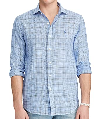 Polo Glen Plaid Estate Shirt Linen Long Lauren Men's Ralph Sleeve lK1cJTF3