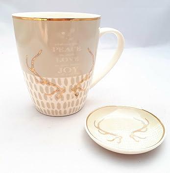 Hirsch Geweih Porzellan Becher Creme Gold Mit Teller Tasse Geschenk  Kaffeebecher Weihnachten