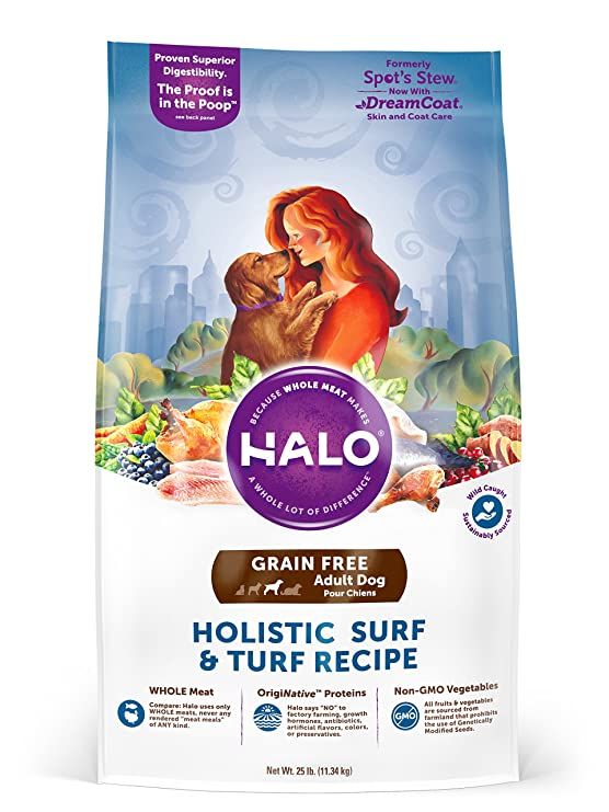 Halo Holistic Grain Free Natural Dry Dog Food for Adult Dogs - Best All-Natural Dogfood for Pit bulls