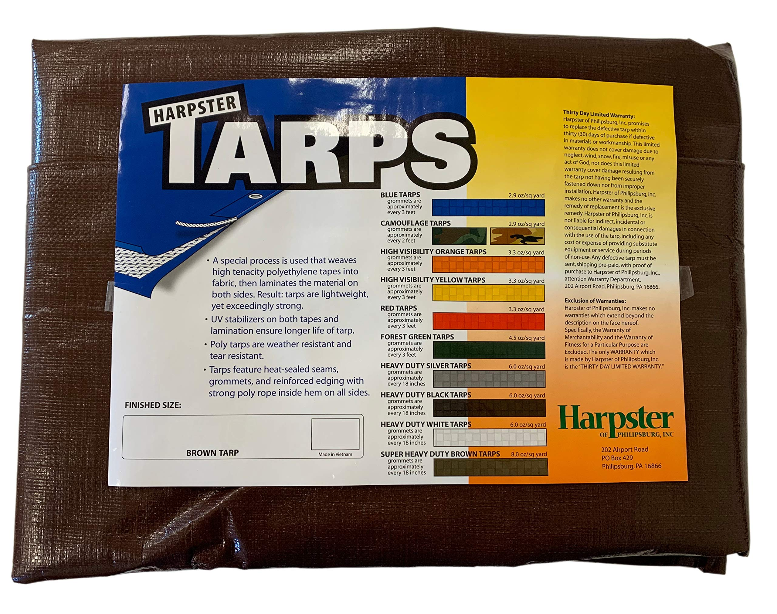 18 Ft. X 24 Ft. Super Heavy Duty 8 Oz. Brown Tarp - 16 Mil Thick by TarpsDirect