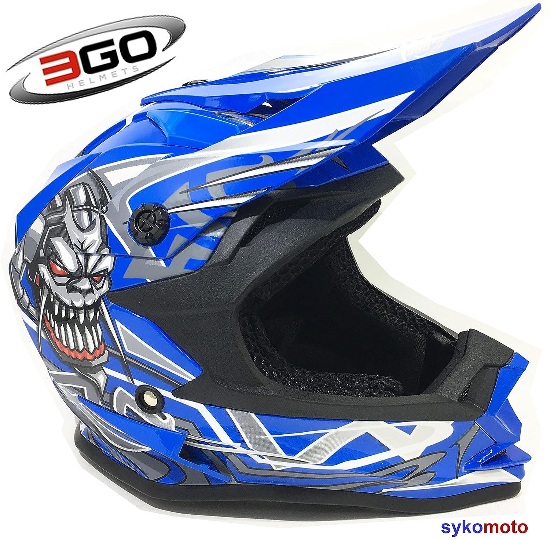 3GO X10-K BAMBINI FAMOSO CRANIO DESIGN RAGAZZI E RAGAZZE MOTOCROSS QUAD ATV DIRT OFF ROAD CASCHI BLU (M (49 - 50 CM)) Motohart