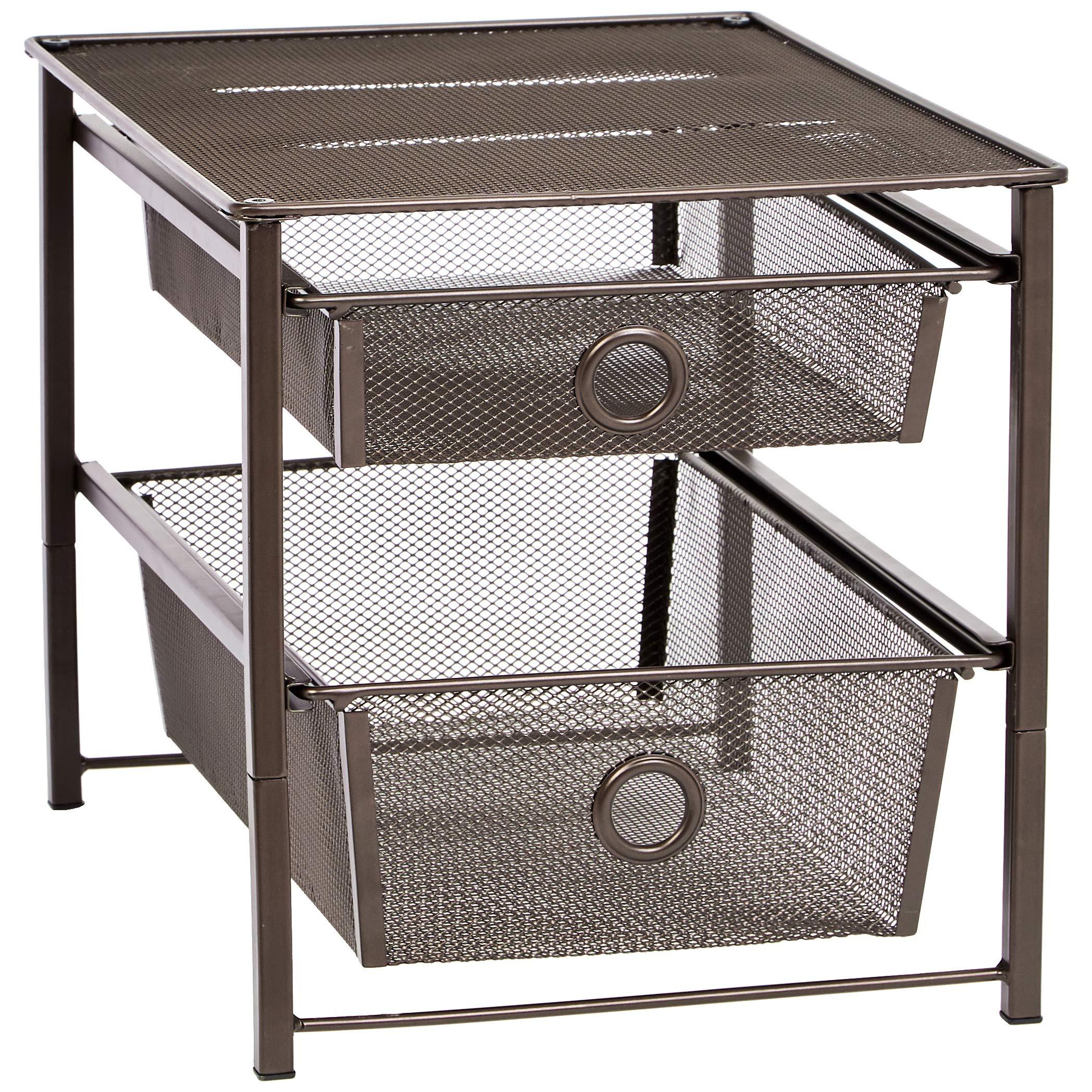 AmazonBasics – Organizador con cestas deslizantes en 2 niveles, Bronce product image