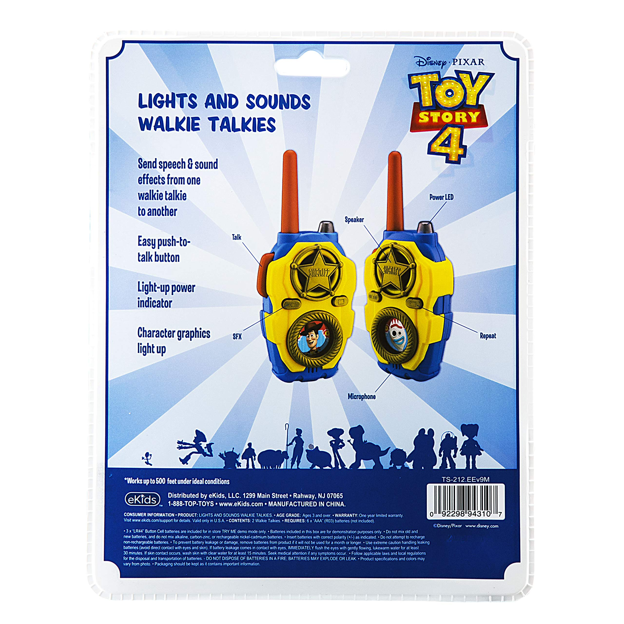 eKids Toy Story 4 FRS Walkie Talkies with Lights and Sounds Kid Friendly Easy to Use by eKids (Image #6)