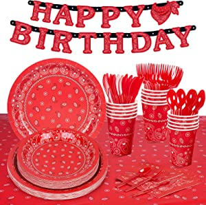 Decorlife Cowboy Birthday Party Supplies for Boys Serves 16, Western Party Decorations, Cute Complete Pack Includes 12oz Cups, Tablecloth, Heavy Duty Utensils, Pre-strung Banner, 114PCS