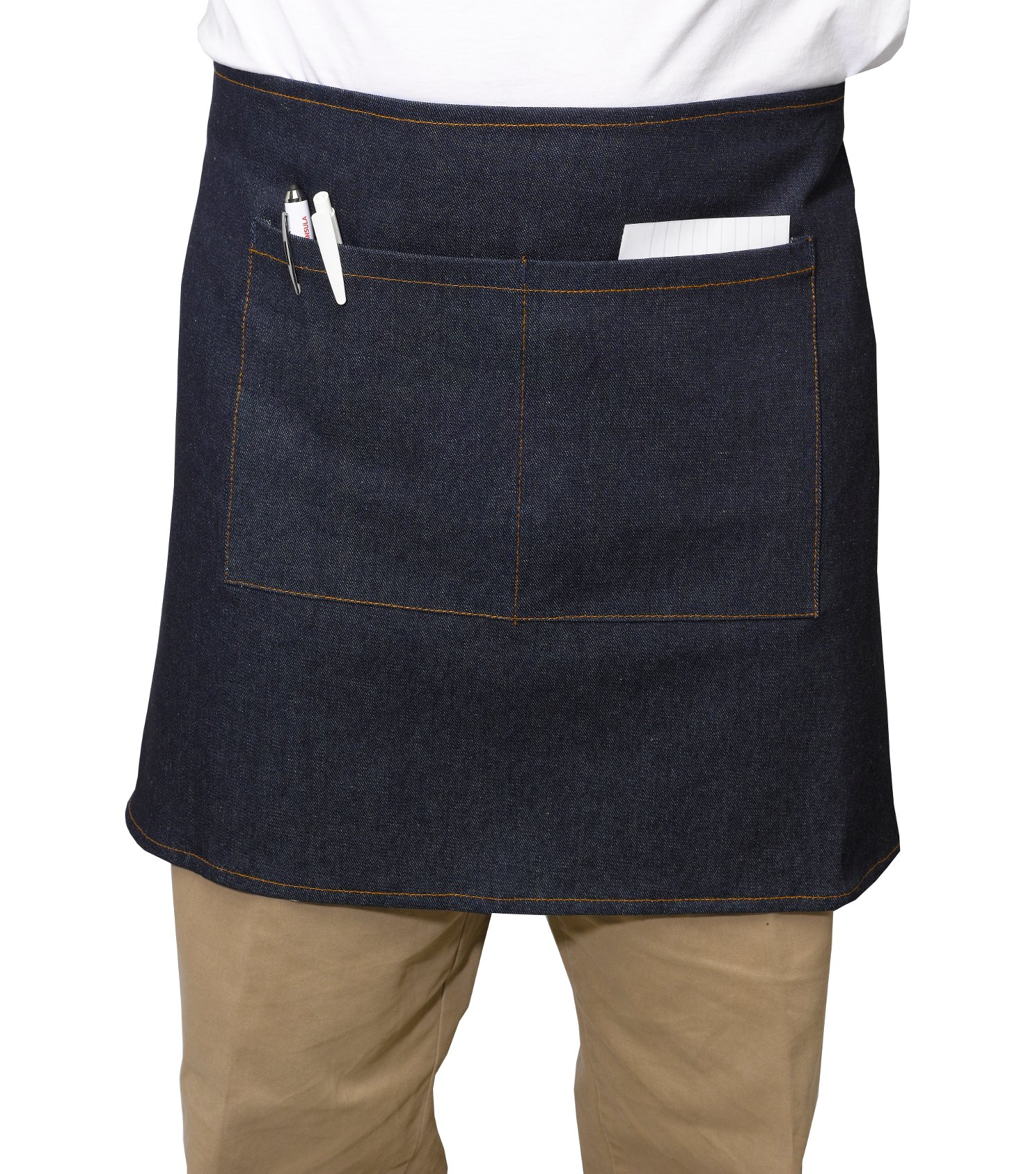 Blue Denim 100% Cotton Half Apron With Split Pocket Waiter Server Trader Pinny 27'' x 18'' (Pack of 5)