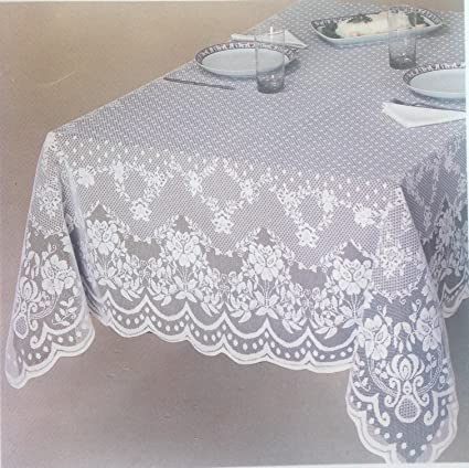 Exceptionnel Veneza White And Ecru / Ivory Lace Tablecloth, Floral Pattern Available In  Various Sizes And