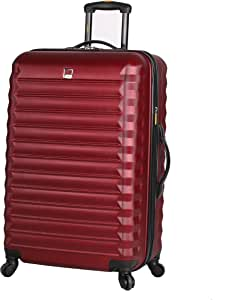 Lucas Treadlight Checked Luggage Collection - 28 Inch Scratch Resistant (ABS + PC) Hard Case Bag - Ultra Lightweight Expandable Large Suitcase With Rolling 4-Spinner Wheels (28in, Burgundy)