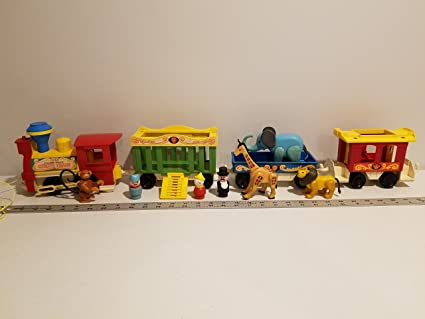 Vintage toy family with train