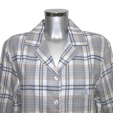 MelanieM Longshirt Schlafhemd Nachthemd lang Knopfleiste Tasche Flanell  gebürstet, Farbe beige taupe  1ba4fcdb30