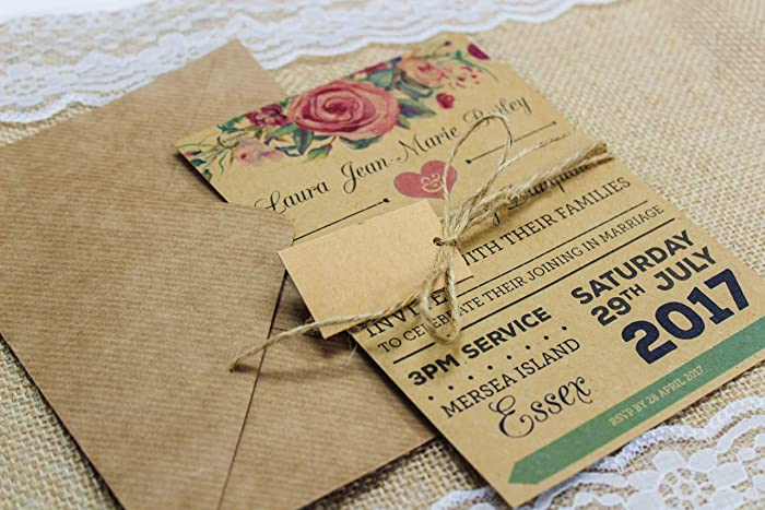 Rustic Kraft Rose Garland Vintage Shabby Chic Wedding Invitation
