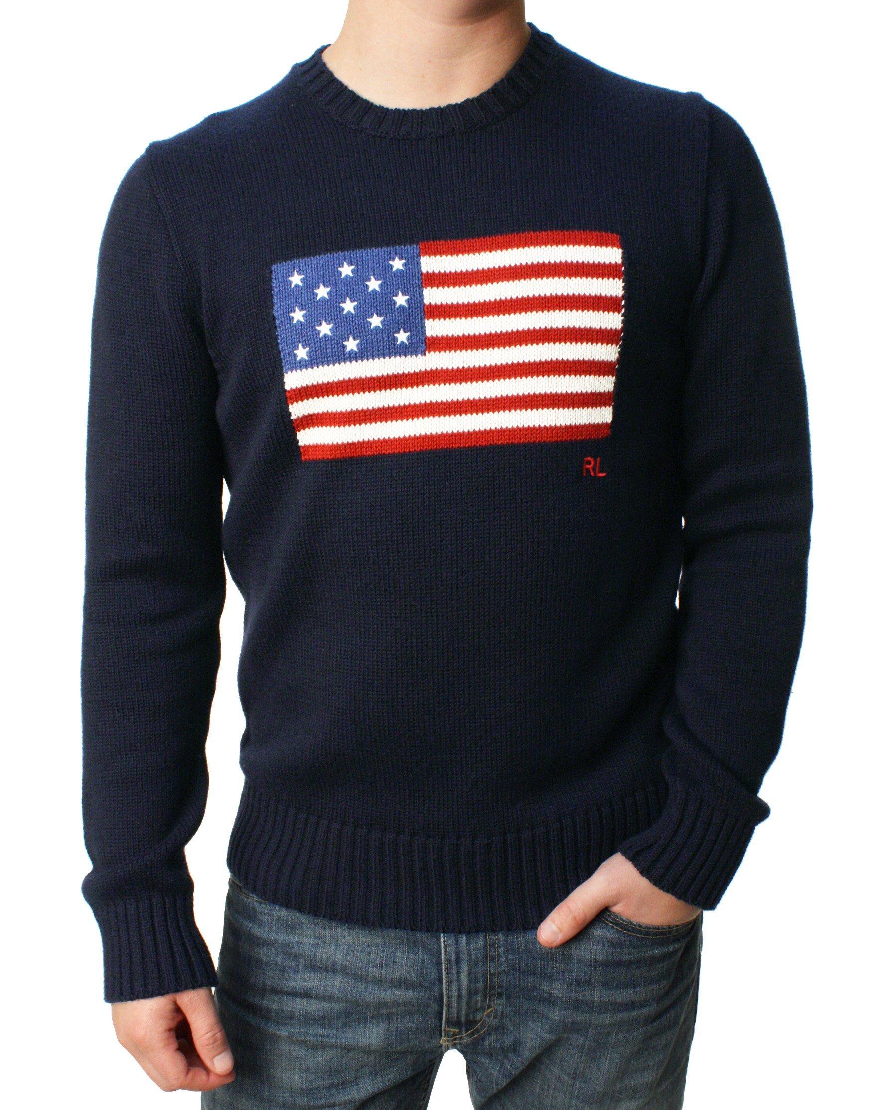 Polo Ralph Lauren Men's Flag Cotton Crew Neck Sweater USA Flag RL Embroidered Navy USA Flag Size X-Large