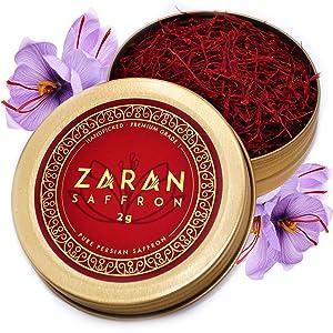 Zaran Saffron, Superior Saffron Threads (Premium) All-Red Saffron Spice for your Paella, Risotto, Persian Tea, Persian Rice, and Golden Milk) (Persian (Super Negin), 2 Grams)
