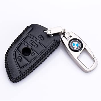 Genuine Leather Key Cover Case Holder Key Chain Fob for BMW F15 X5 Black Color