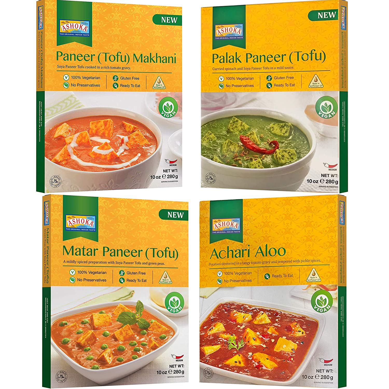Ashoka - 100% Vegan Combo, (Paneer Tofu Makhani, Matar Paneer Tofu, Palak Paneer Tofu, Achari Aloo), 4 PACK, RTE Tofu Meals