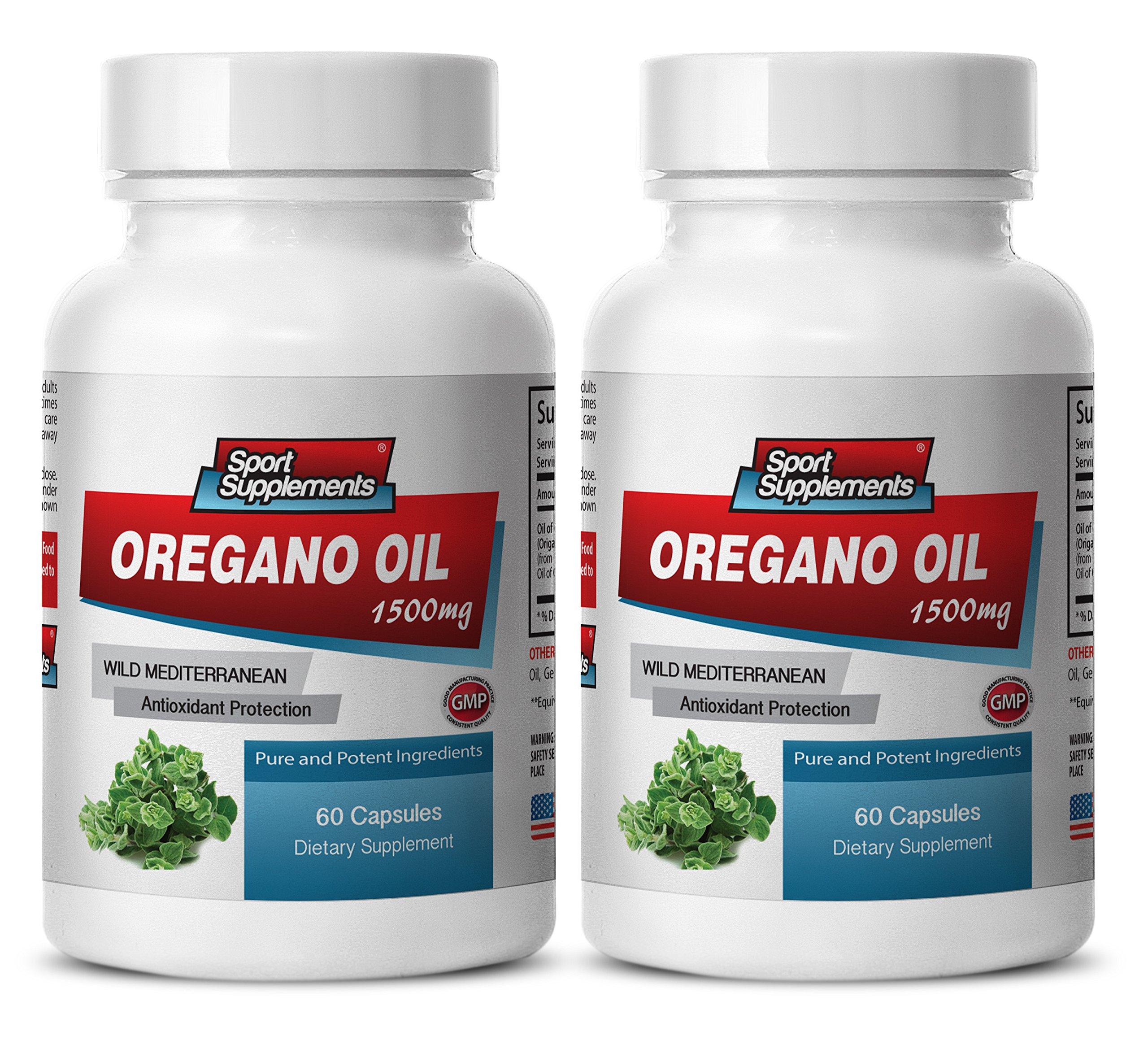 Healthy digestion - OREGANO OIL (WILD MEDITERRANEAN) EXTRACT 1500 - Mediterranean diet - 3 Bottles 180 Capsules by Sport Supplements